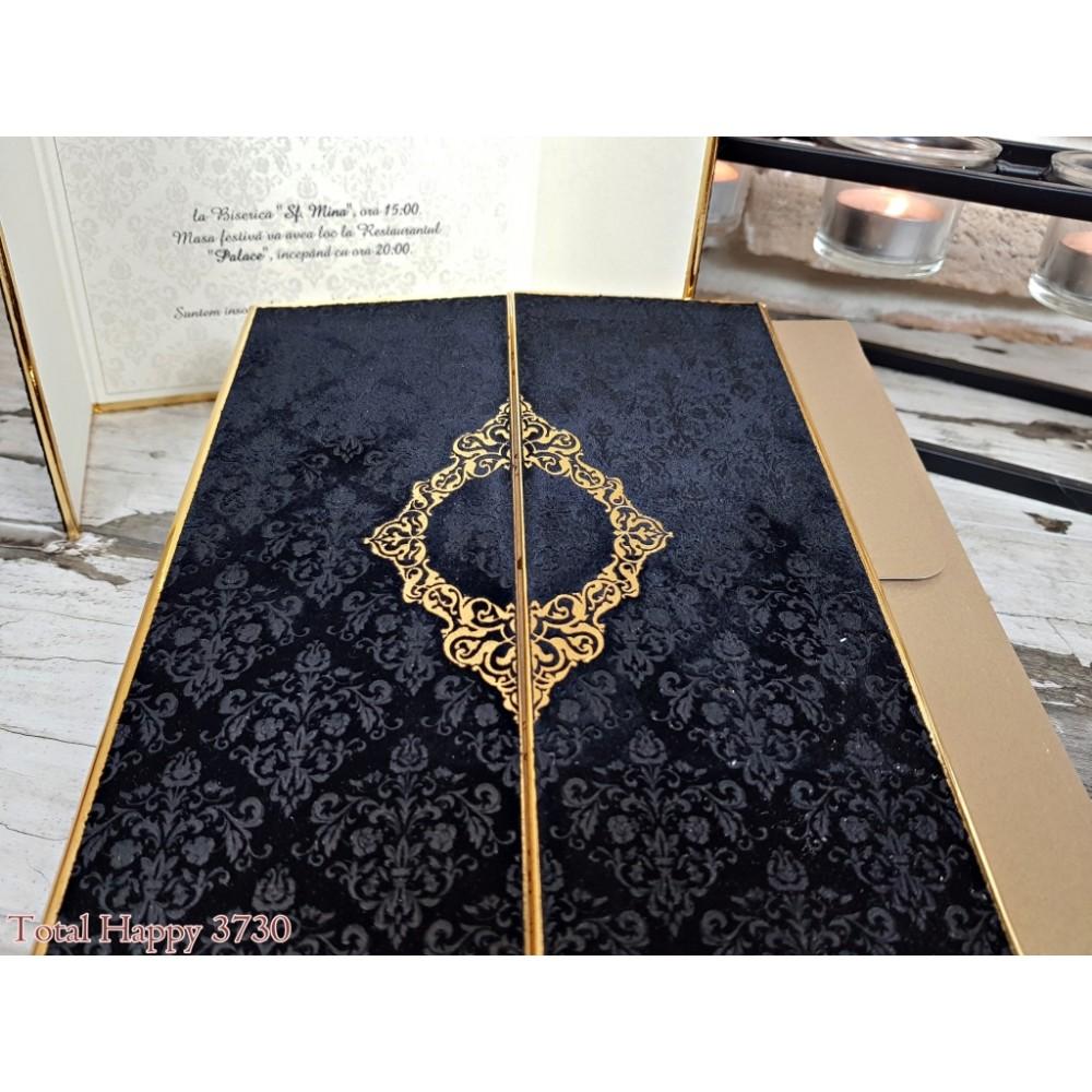 Invitatie Nunta Eleganta Din Catifea Neagra Cu Margini Aurii