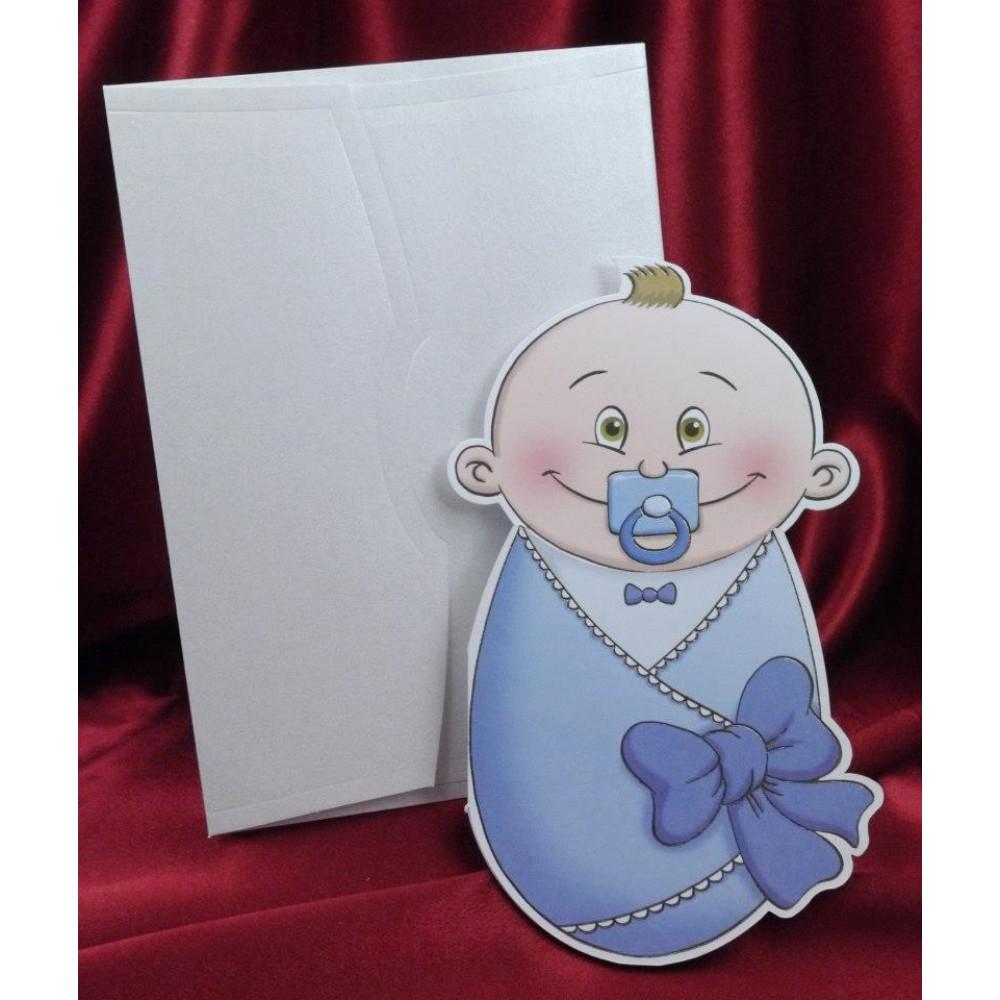 Invitatie albastra de botez pentru baieti sub forma de bebelus
