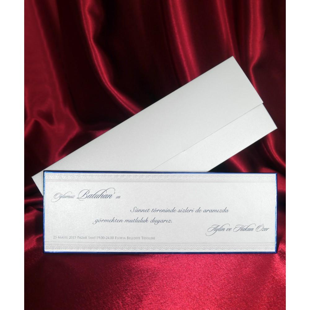 Invitatie clasica cu bordura in relief si contur albastru