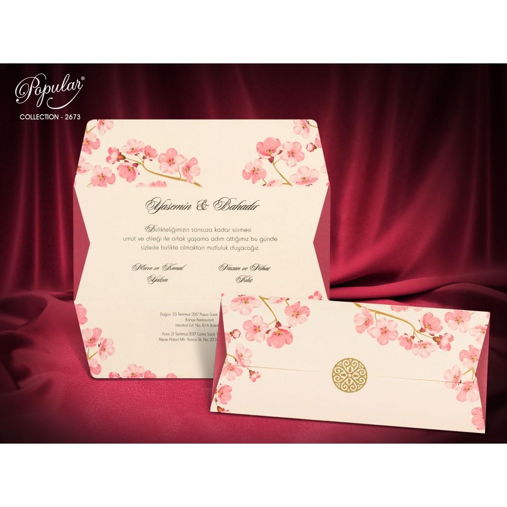 Invitatie crem cu roz si flori de cires