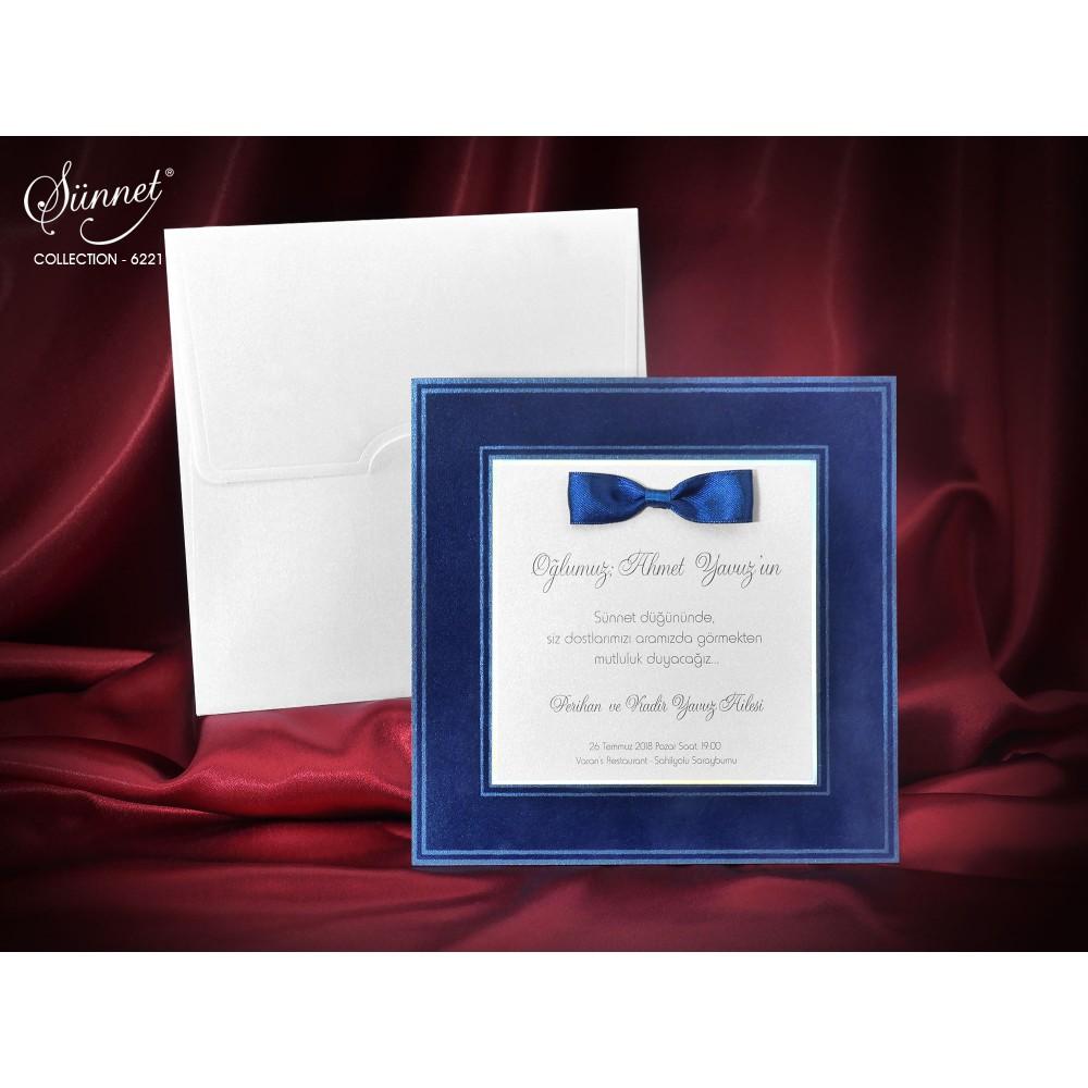 Invitatie de botez din catifea si papion albastru