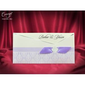Invitatie eleganta cu fundita mov si detalii argintii