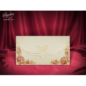 Invitatie eleganta de botez cu fluture auriu si trandafiri