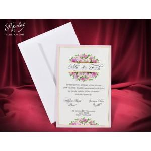 Invitatie eleganta de nunta cu trandafiri roz si chenar auriu