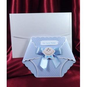 Invitatie scutec albastru cu bebelus si papion, model botez baieti