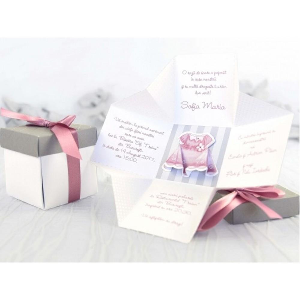 Invitatie De Botez 3d Pentru Fetite Model Cutie Cu Fundita Roz