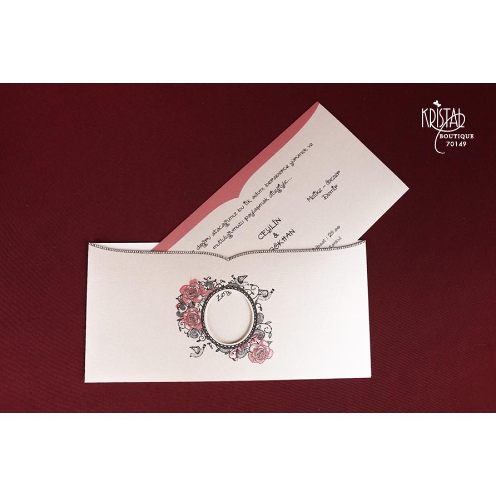Invitatie De Nunta Alba Cu Trandafiri Roz Si Decupaj Rotund Pentru