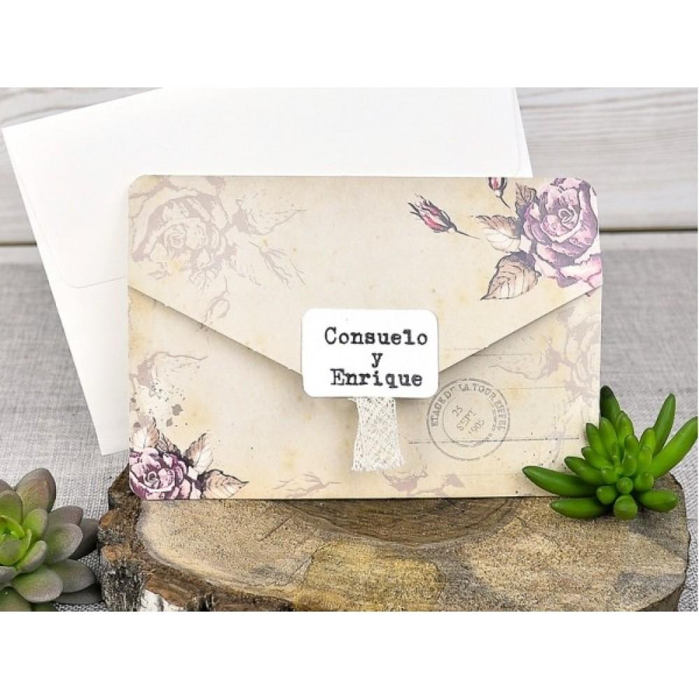 Invitatie De Nunta Tip Plic Vintage Si Stampila Cu Data Nuntii