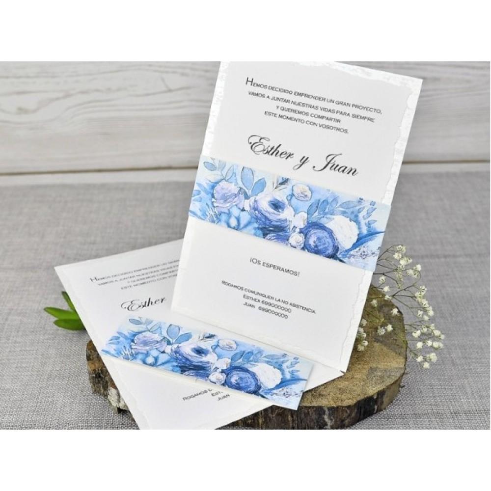 Invitatie Nunta Model Alb Cu Flori Albastre Si Plic Asortat