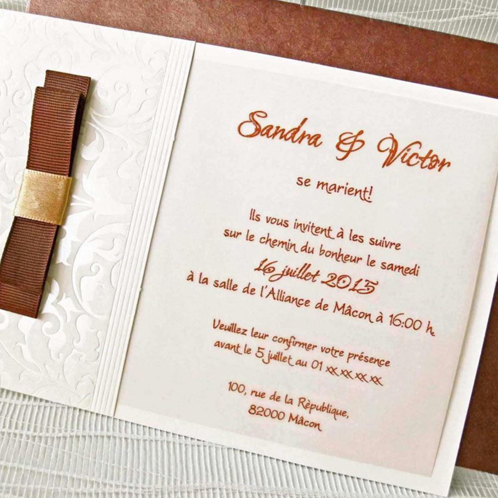 Invitatie nunta cu model fundita maro