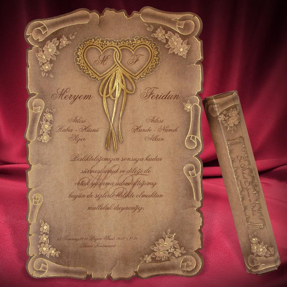 Invitatie Nunta Stil Pergament Cu Inimioare Si Flori