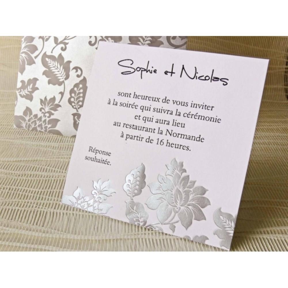 Card de confirmare roz cu flori gri in relief