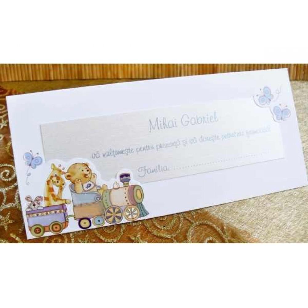 Card de masa si mapa de bani bleu cu ursulet