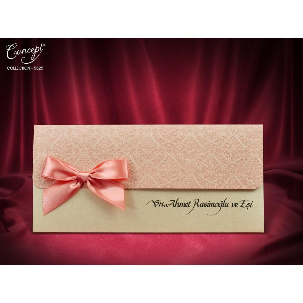 Invitatie nunta cu model in relief roz si funda asortata