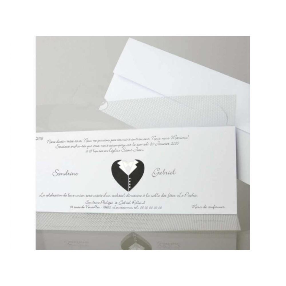Invitatie alba cu design costum de miri
