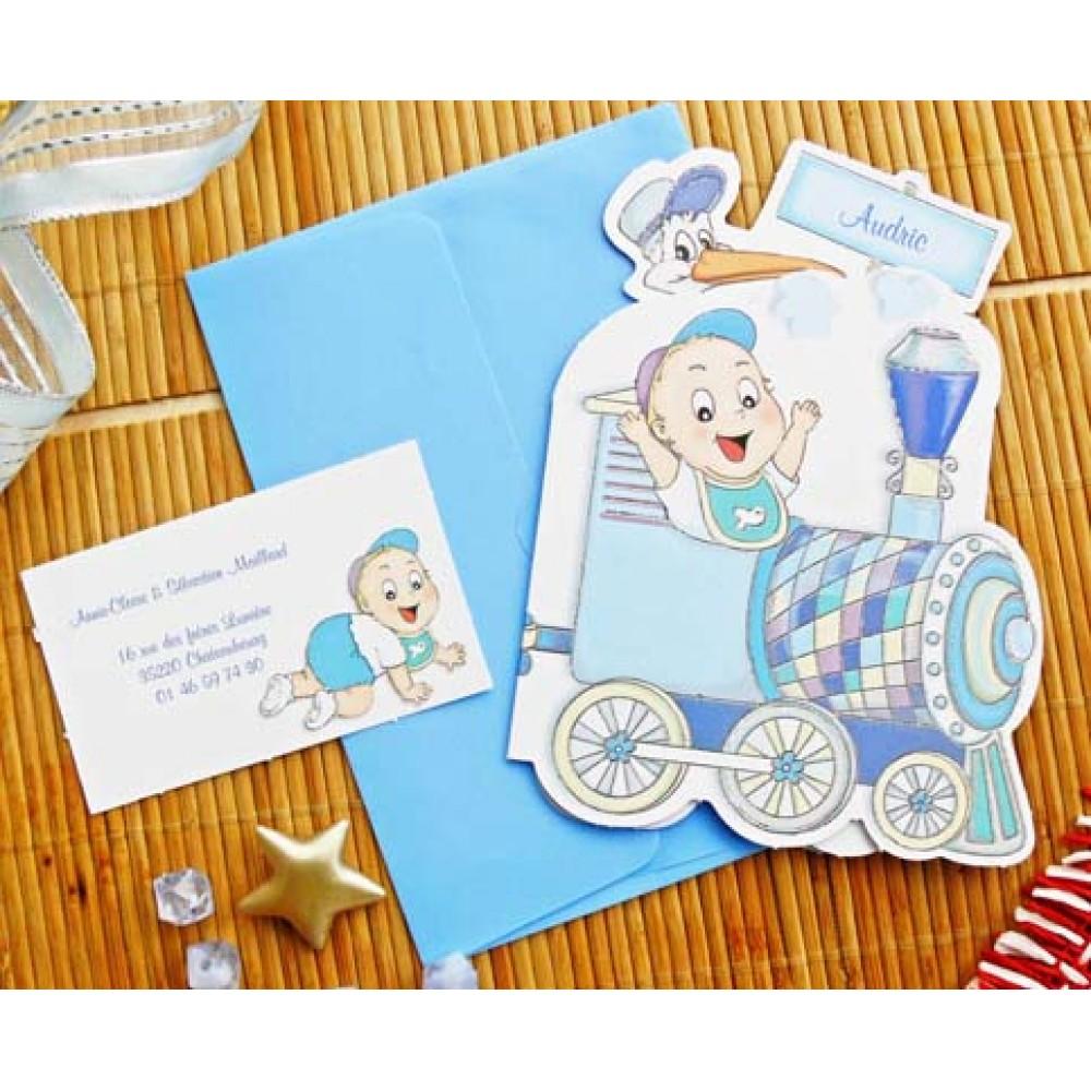 Invitatie Botez Albastra Cu Model Bebe Si Trenulet