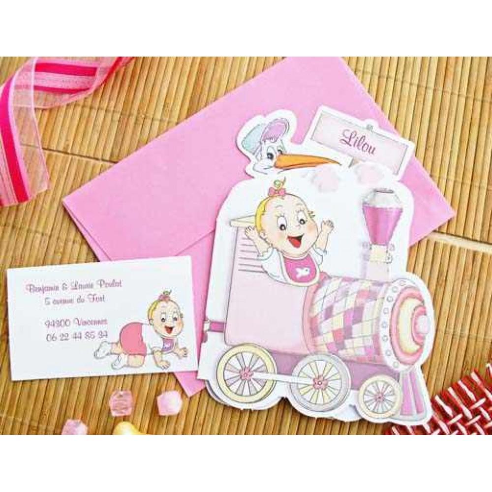 Invitatie botez cu bebe si trenulet roz