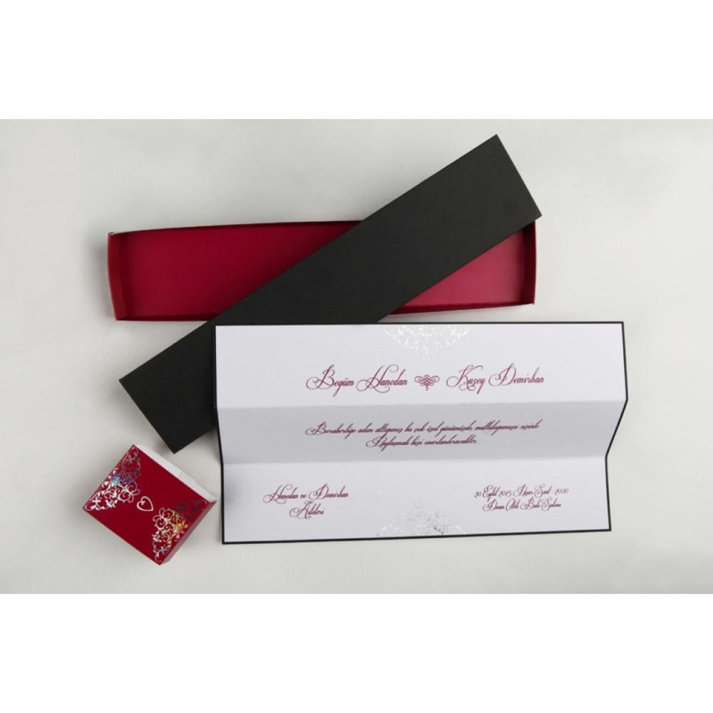 Invitatie in forma de cutie negru cu rosu