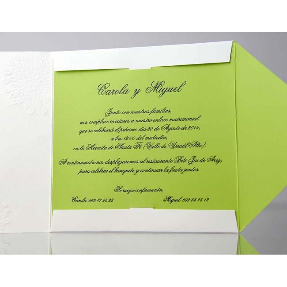Invitatie nunta cu coperta alba si interior verde