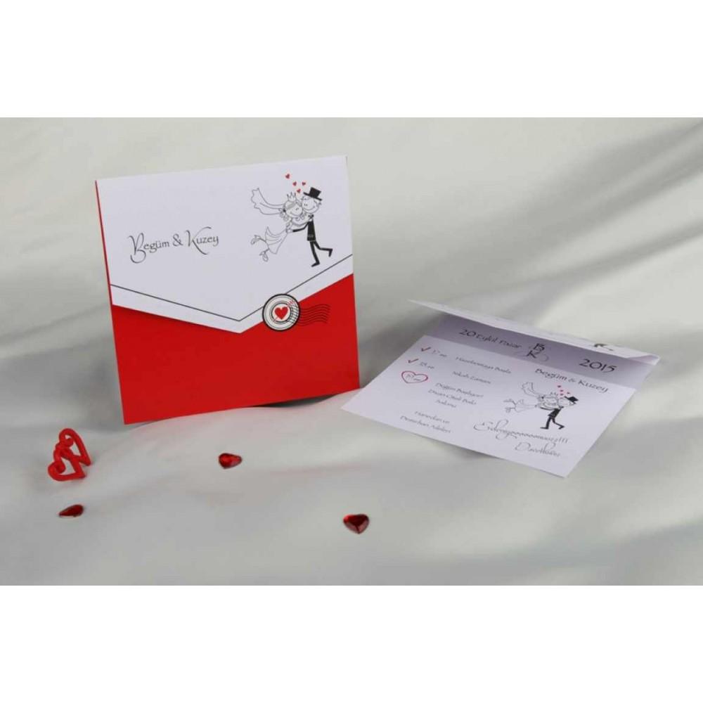 Invitatie tip scrisoare rosu cu alb